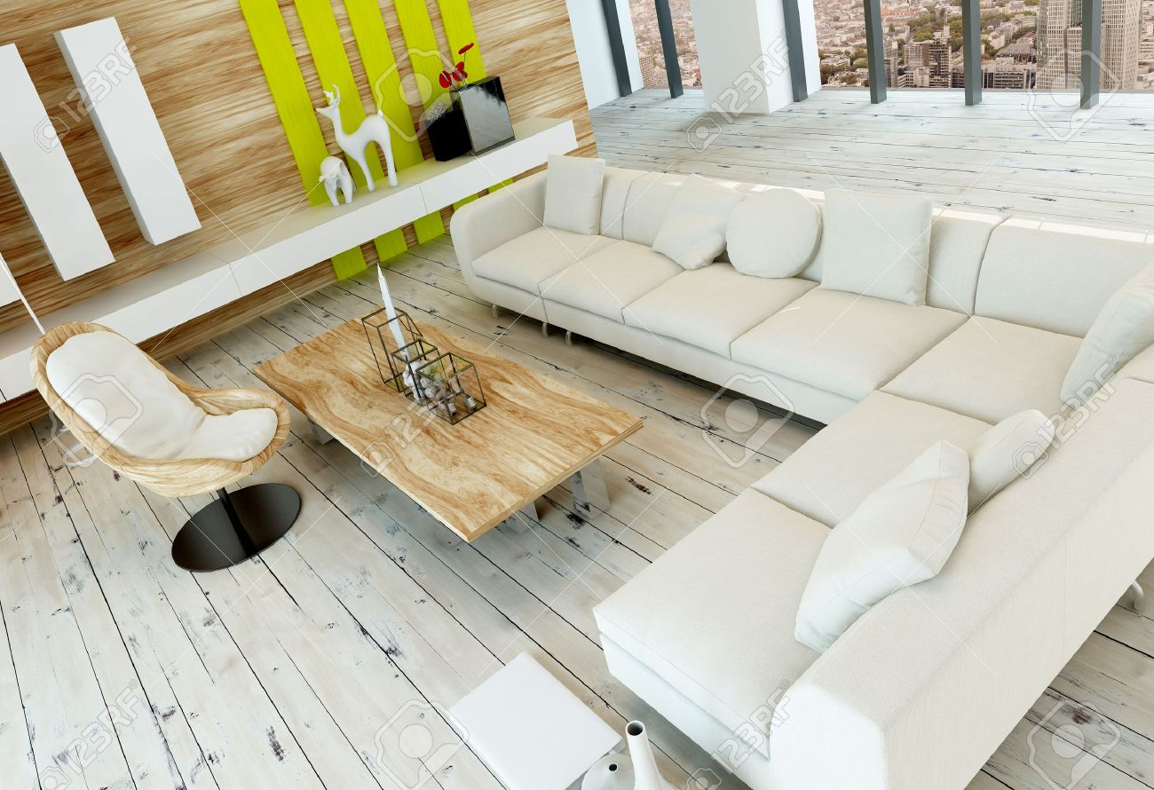 high angle view of a rustic living room interior with white