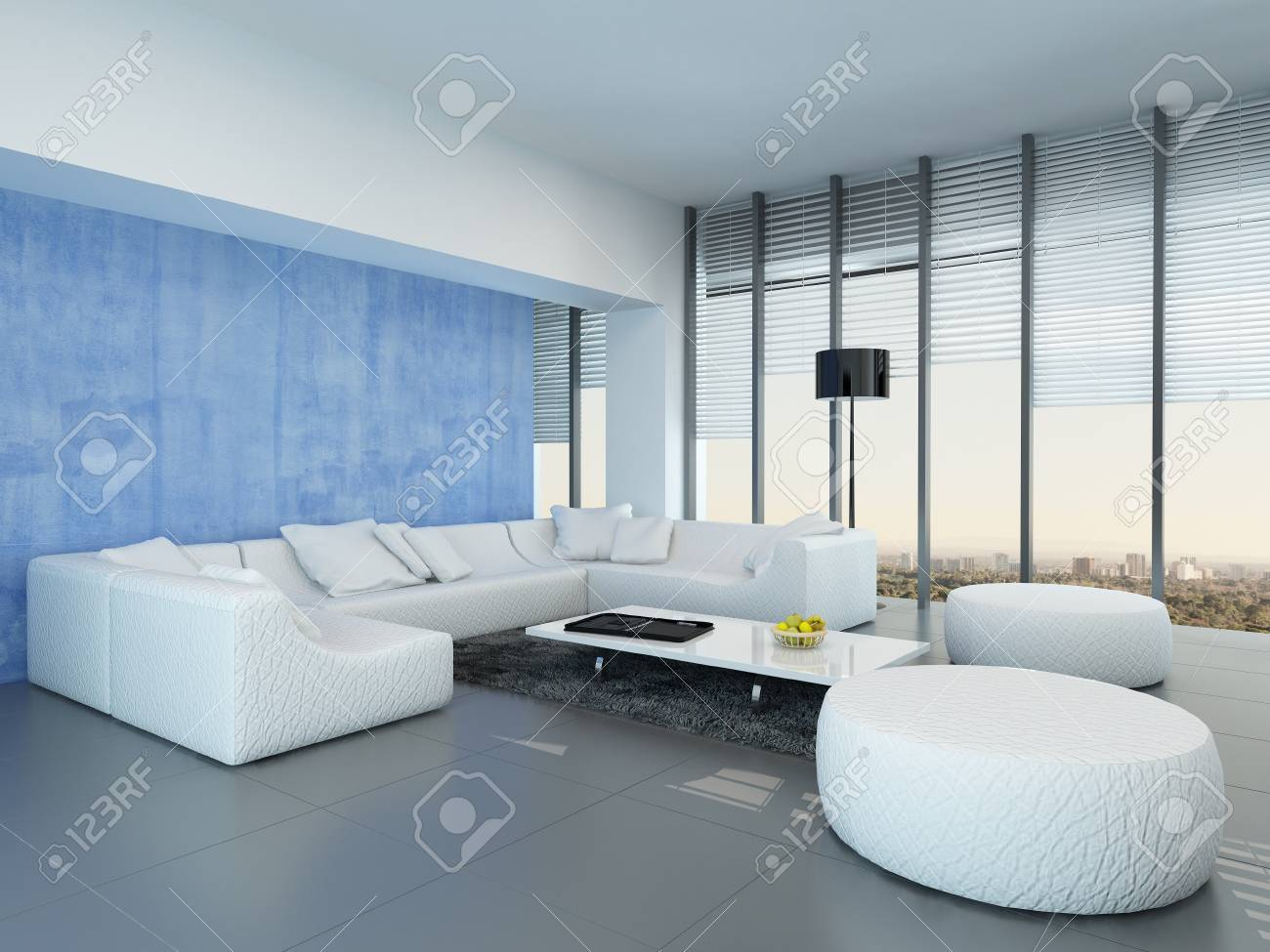 Contemporary Grey Blue And White Living Room Interior Decor With A Modular Lounge Suite