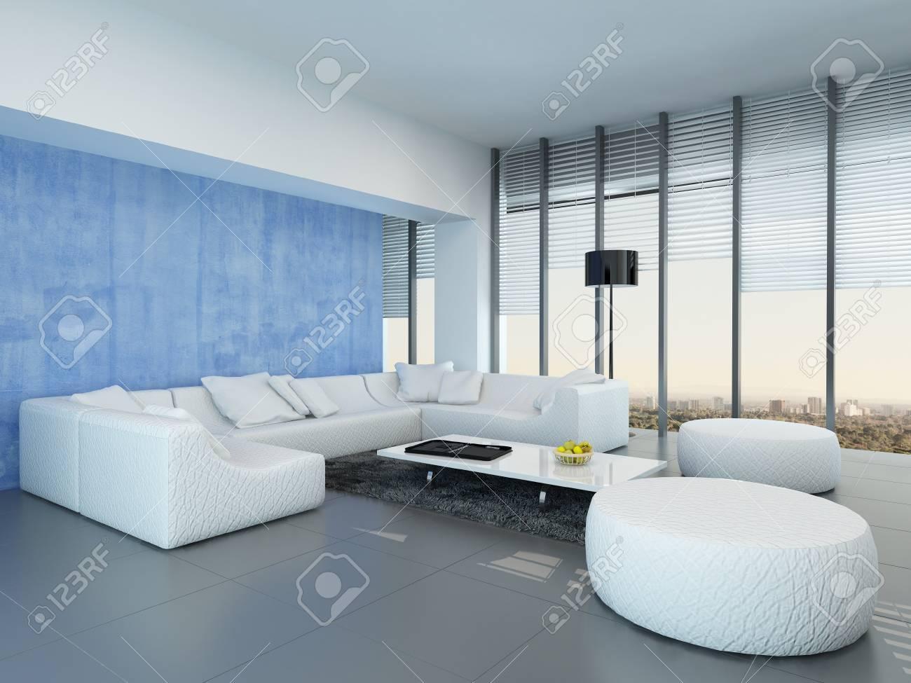 Gris contemporain, bleu et blanc salon décoration intérieure avec un blanc  salon suite modulaire sur un sol gris, fenêtres du sol au plafond et ...