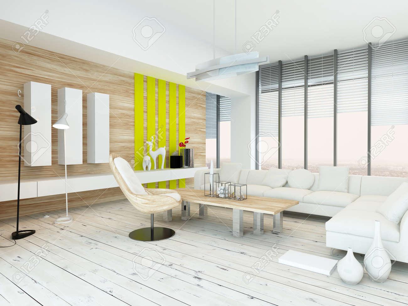 Rustic Wood Veneer Finish Living Room Interior With Natural Wood ...