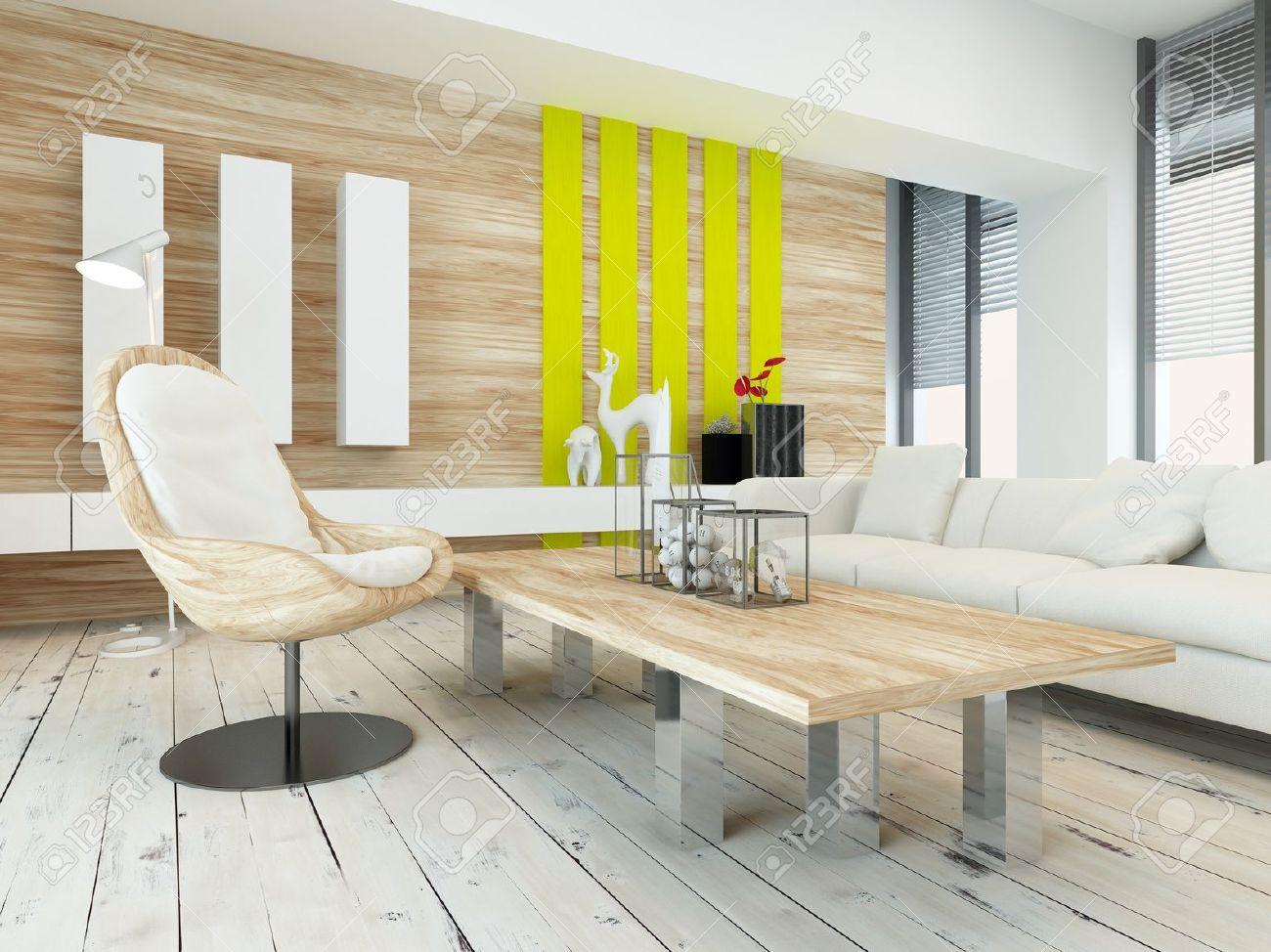 Rustik träfanér avsluta vardagsrum inredning med trä soffbord och ...