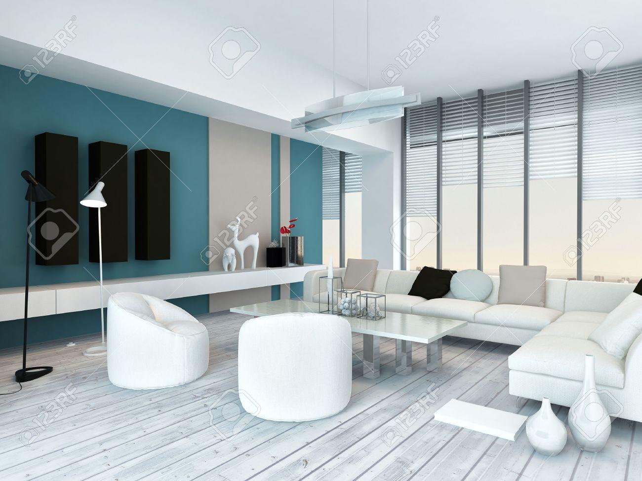 Koele blauwe en witte moderne woonkamer inyerior met wit ...