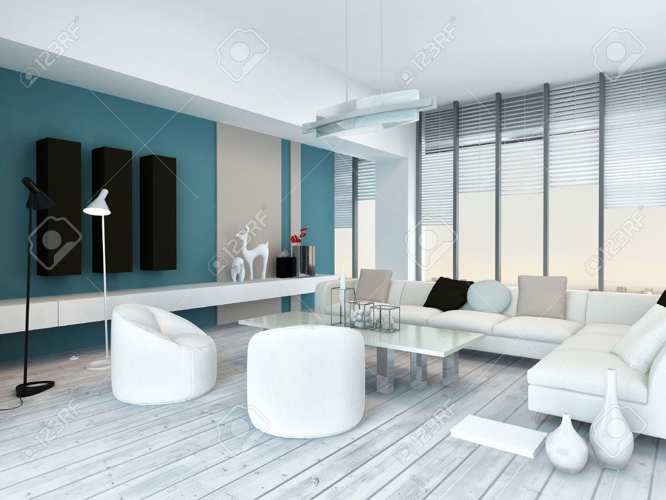 Cool Blue And White Modern Living Room Inyerior With White Painted