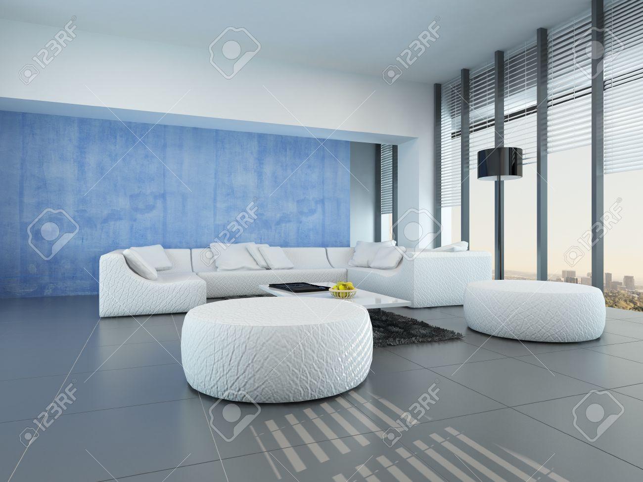 Moderne Grau, Blau Und Weiß Wohnzimmer Interieur Mit Einer Modularen Weißen  Sitzgruppe Auf Einem Grauen