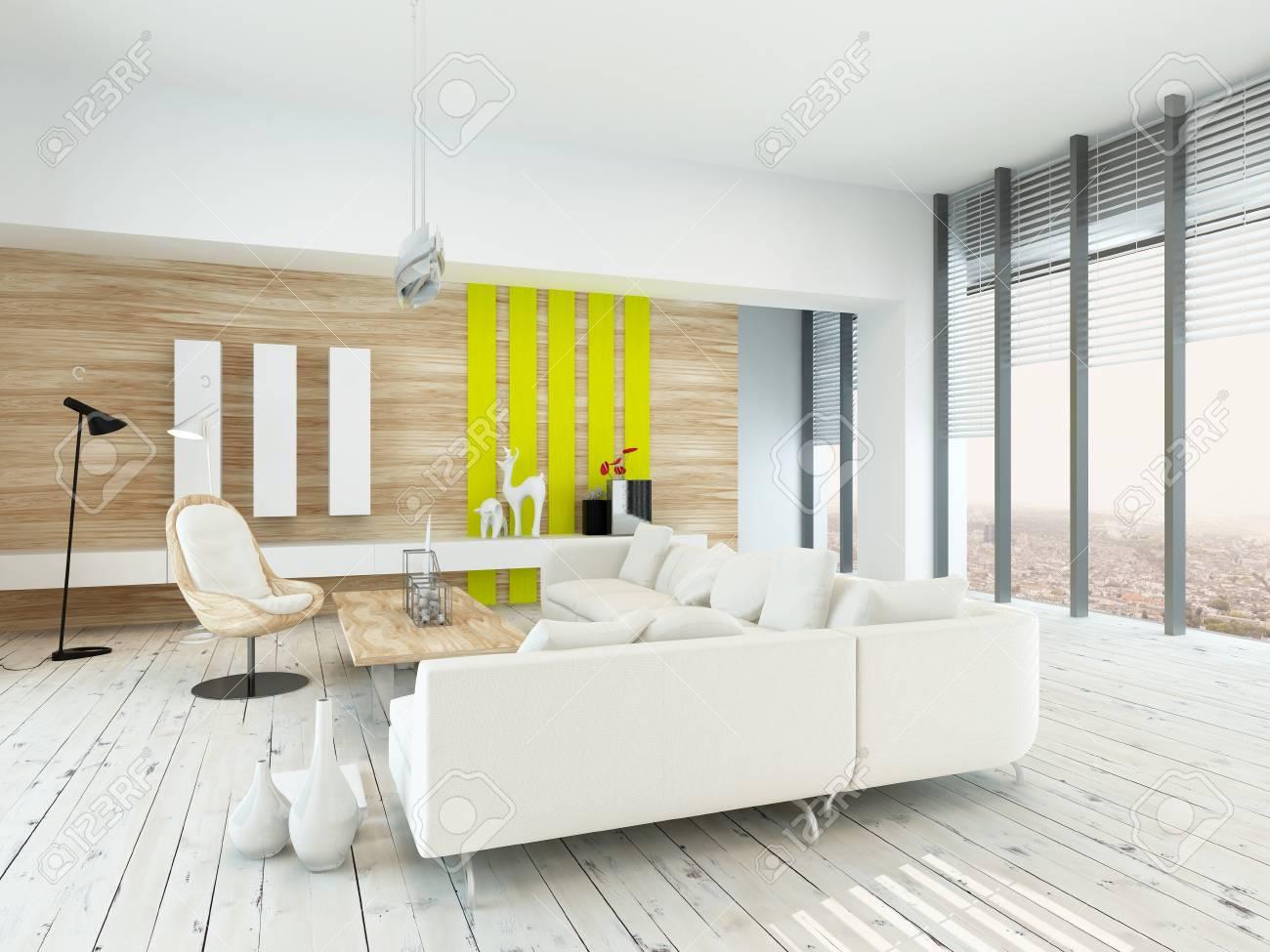 Das Helle, Luftige Wohnzimmer Mit Rustikaler Einrichtung Mit Holz Furniert  Wände, Weiß Lackiert Dielen, Moderne Weiße Sitzgruppe Und Stuhl, Gelben  Akzenten ...