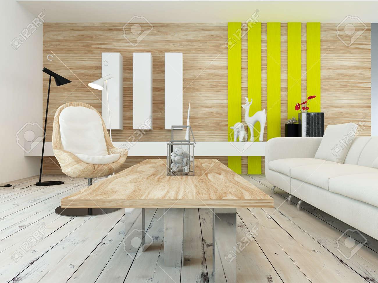 Rustieke inrichting in een moderne woonkamer met een houten muur ...