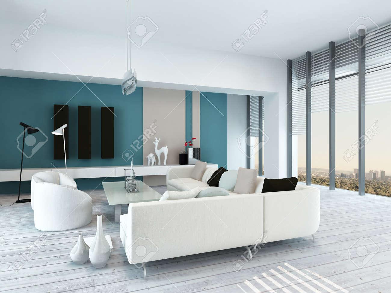 Mooie blauwe en witte woonkamer interieur met rustieke wit ...
