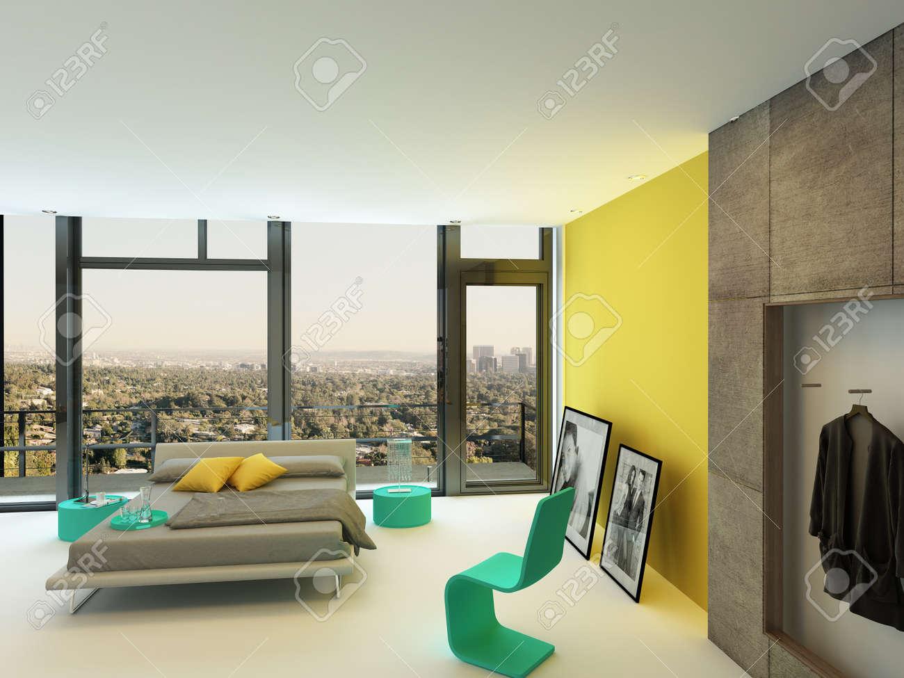 Geräumige Schlafzimmer Interieur Mit Bunten Gelben Wand Akzente, Türkis  Stuhl Und Schränke Und Eine Doppelschlafcouch