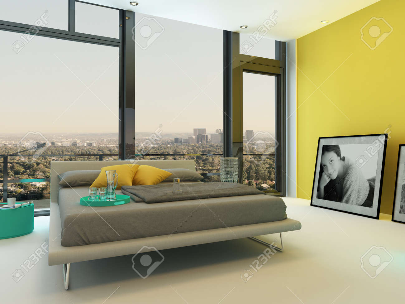 Turquoise Living Room Spacious Colorful Bedroom Interior With Yellow Wall Accents