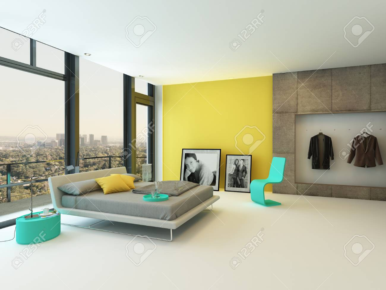 Spacious colorful bedroom interior with yellow wall accents,..