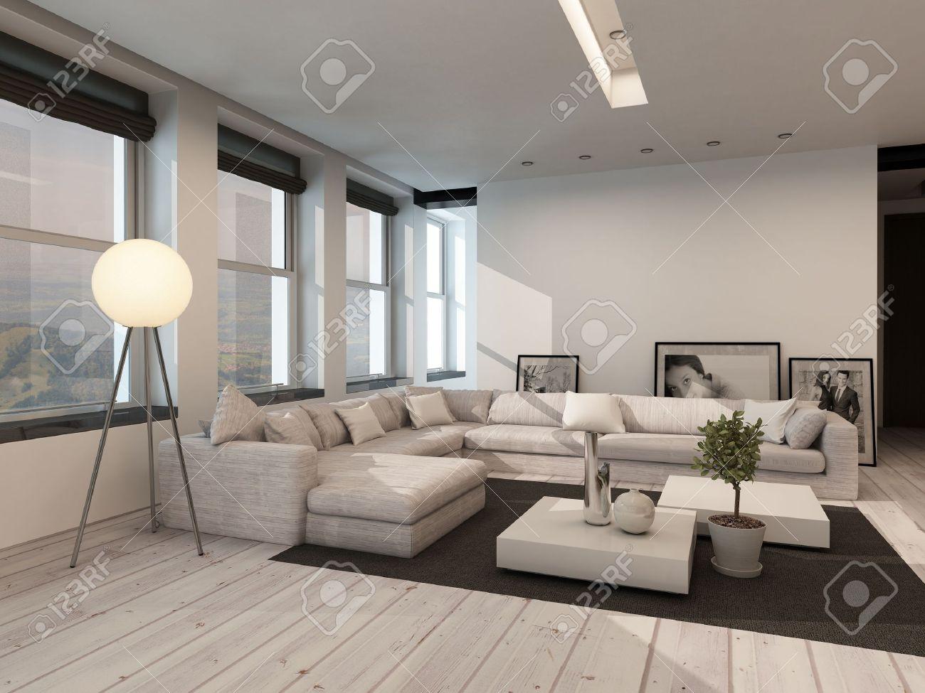Moderne zwarte en witte woonkamer interieur met geschilderde witte ...