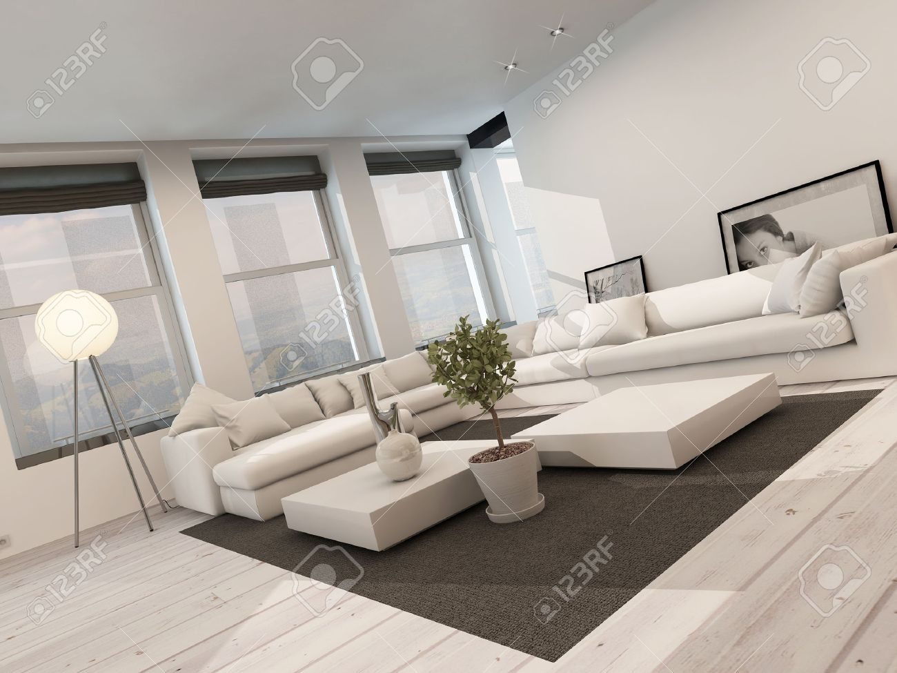 Banque Du0027images   Intérieur Noir Et Blanc Moderne Salon Avec Plancher Peint  En Blanc Avec Un Tapis Noir, Une Suite De Coin Salon, Rangée De Fenêtres Et  ...