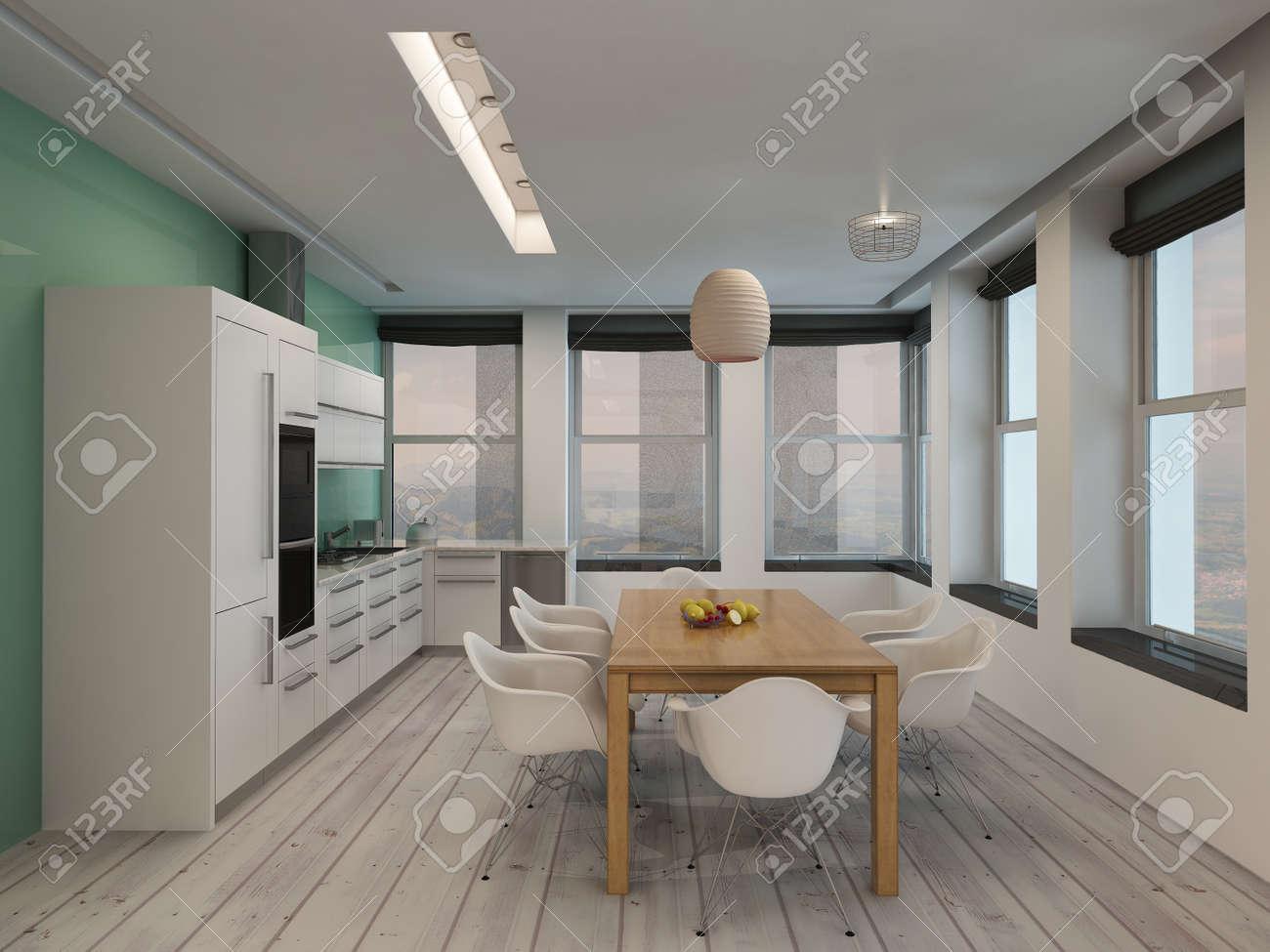 Open Space Cucina Moderna E Sala Da Pranzo Interna Con Costruito ...