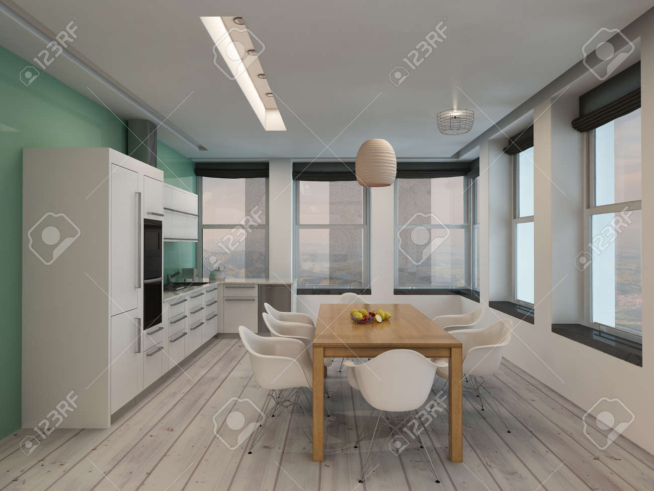 Open plan modern kitchen and dining room interior with built..