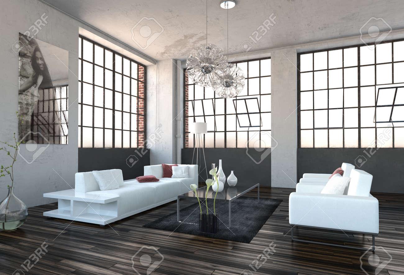 Ruime hoog volume moderne woonkamer interieur met enorme ...