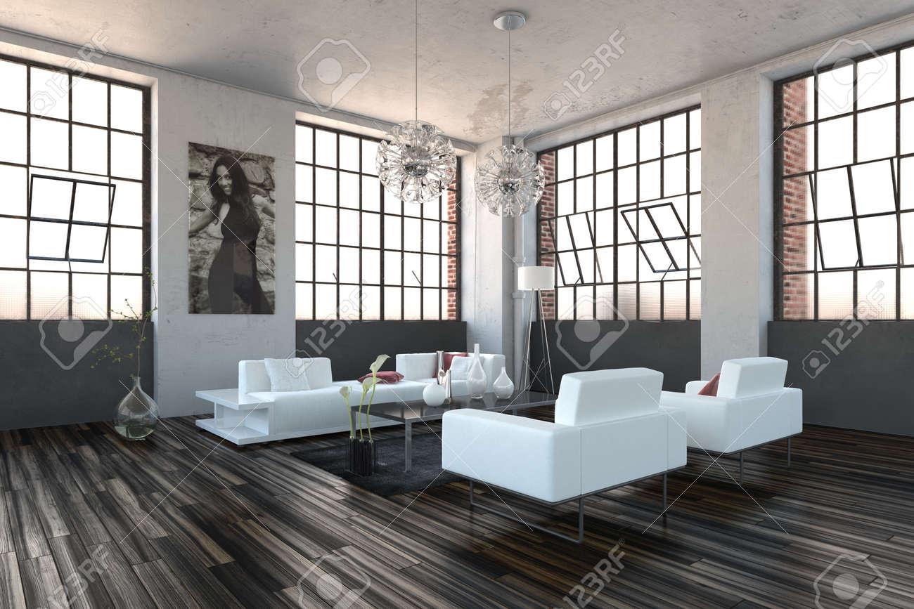 Sehr helle hohe volumen modernen wohnzimmer innenraum mit drehhaus fenster fenster parkettboden und modernen
