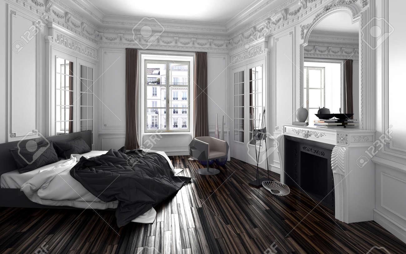 klassisches schwarz-weiß-schlafzimmer interieur mit einem ... - Schlafzimmer Fenster