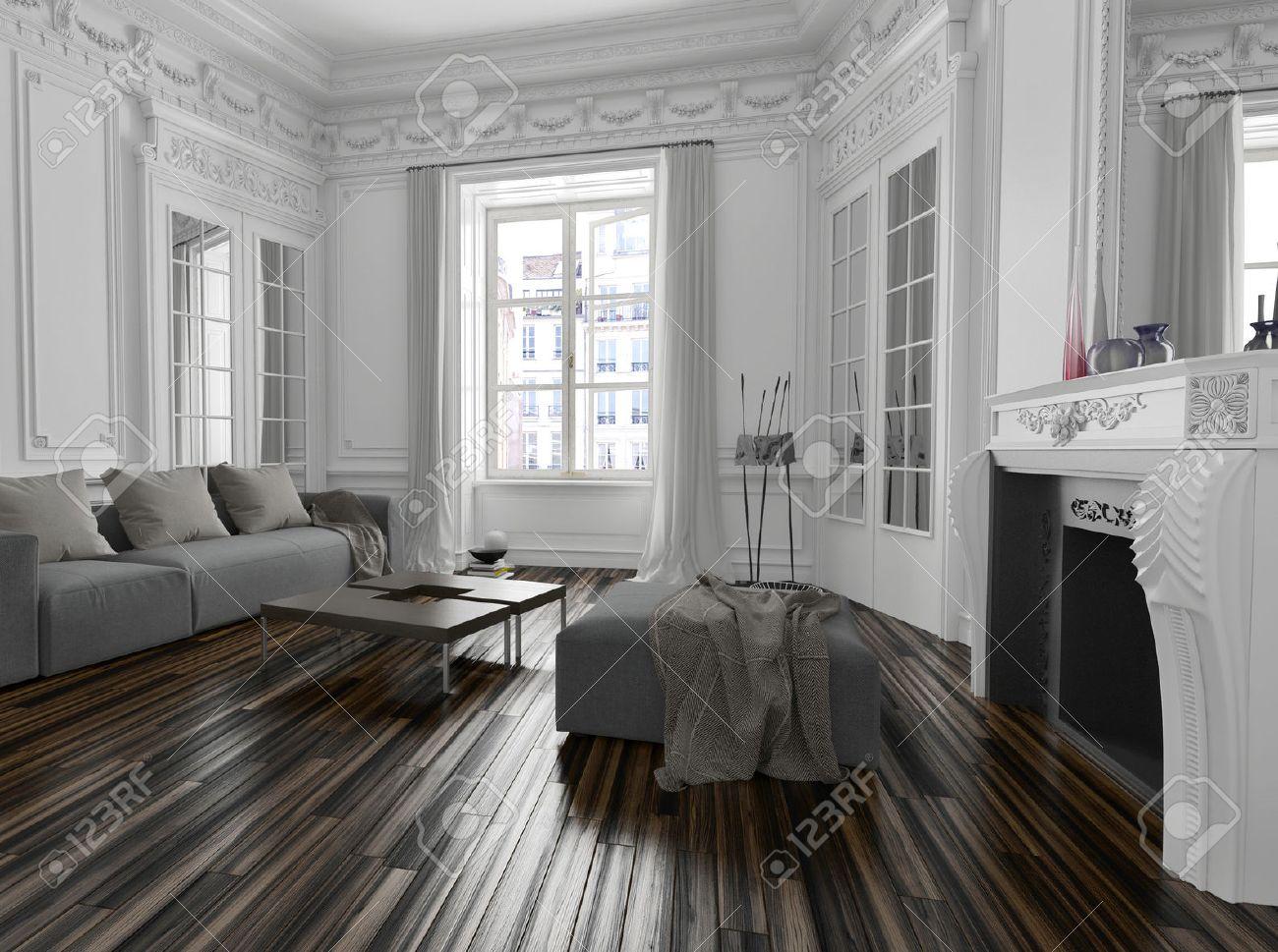 Classique intérieur de salon blanche avec corniches ...