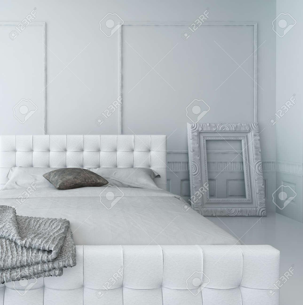 Wit lederen bed in een witte luxe panelen slaapkamer interieur ...