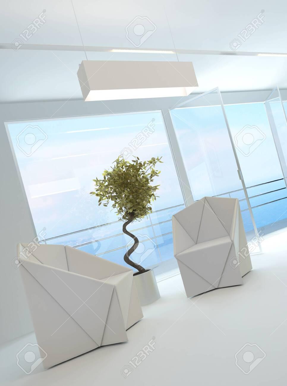 Elegante lichte luchtige woonkamer interieur met twee eigentijdse ...