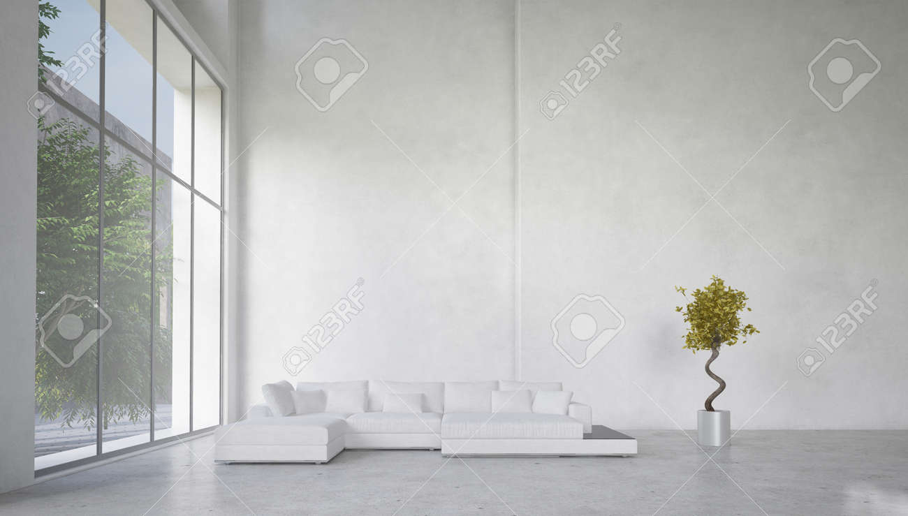 Double Volume Spacious Living Room Interior With Huge Panoramic ...