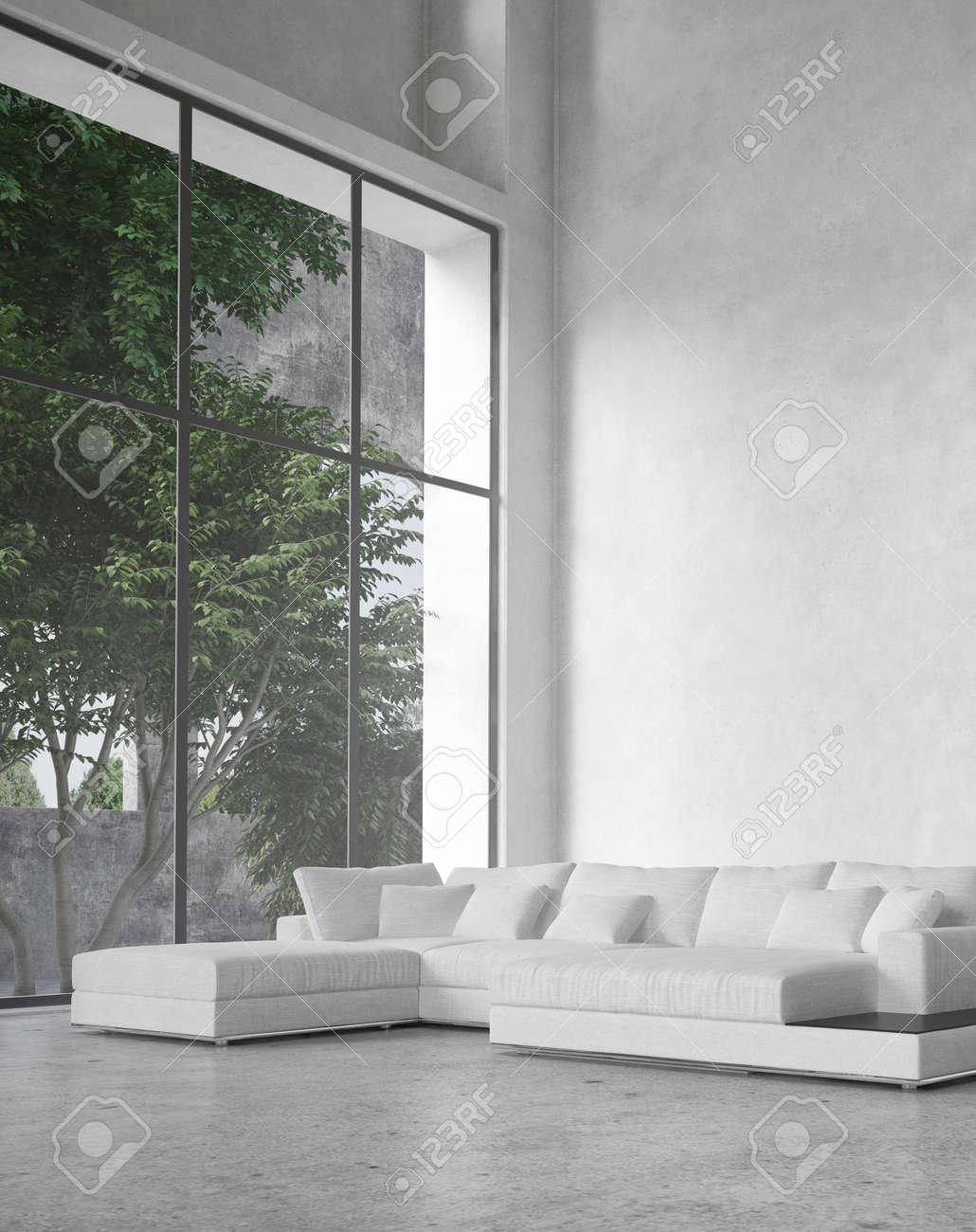 Minimalist Background Large Modern Living Room Interior With A Double Volume Ceiling And