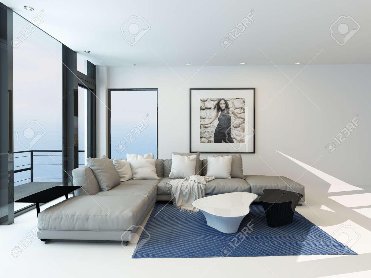 Moderne waterkant woonkamer met een lichte luchtige lounge ...