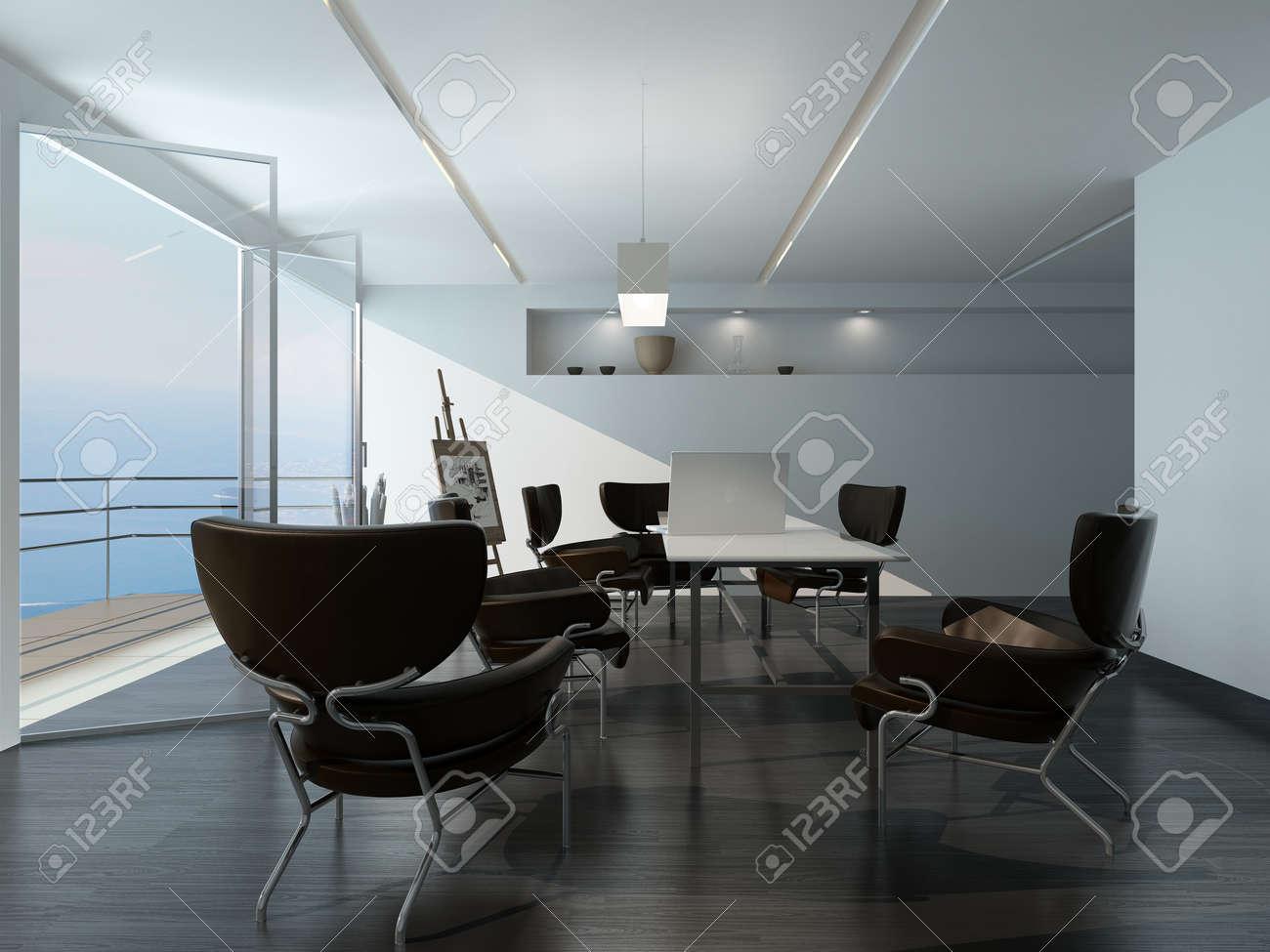 Moderne salle de réunion de bureau intérieur avec des fauteuils