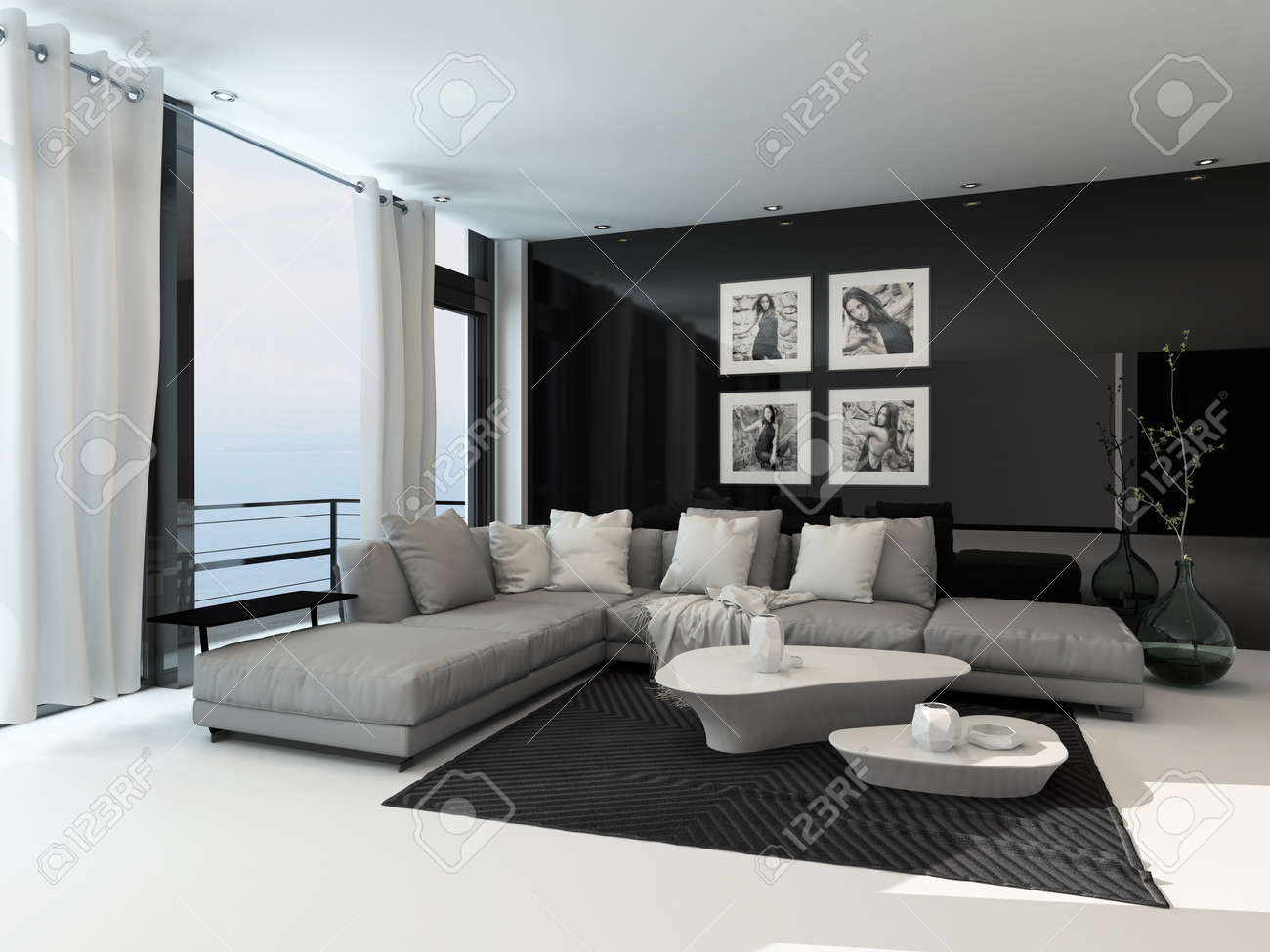 Lounge Interior In A Coastal Apartment With Floor To Ceiling ...