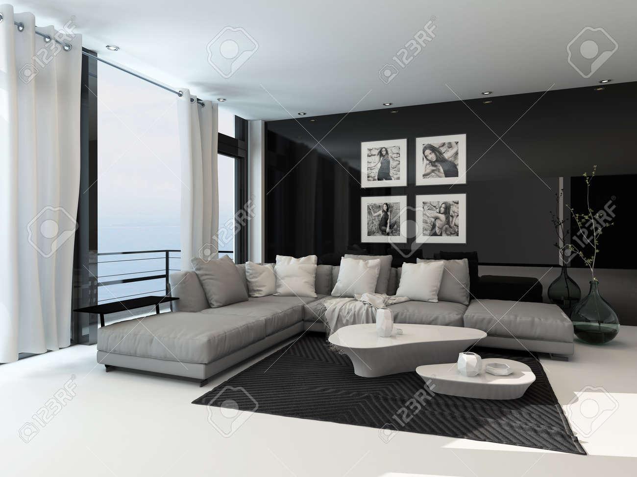 Lounge innenraum in einem küsten wohnung mit deckenhohen fenstern