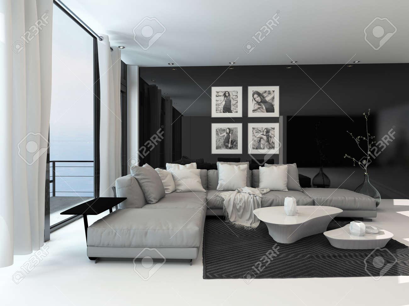 Lounge Interior With A Dark Accent Wall And Floor To Ceiling Stock Photo Picture And Royalty Free Image Image 30158920