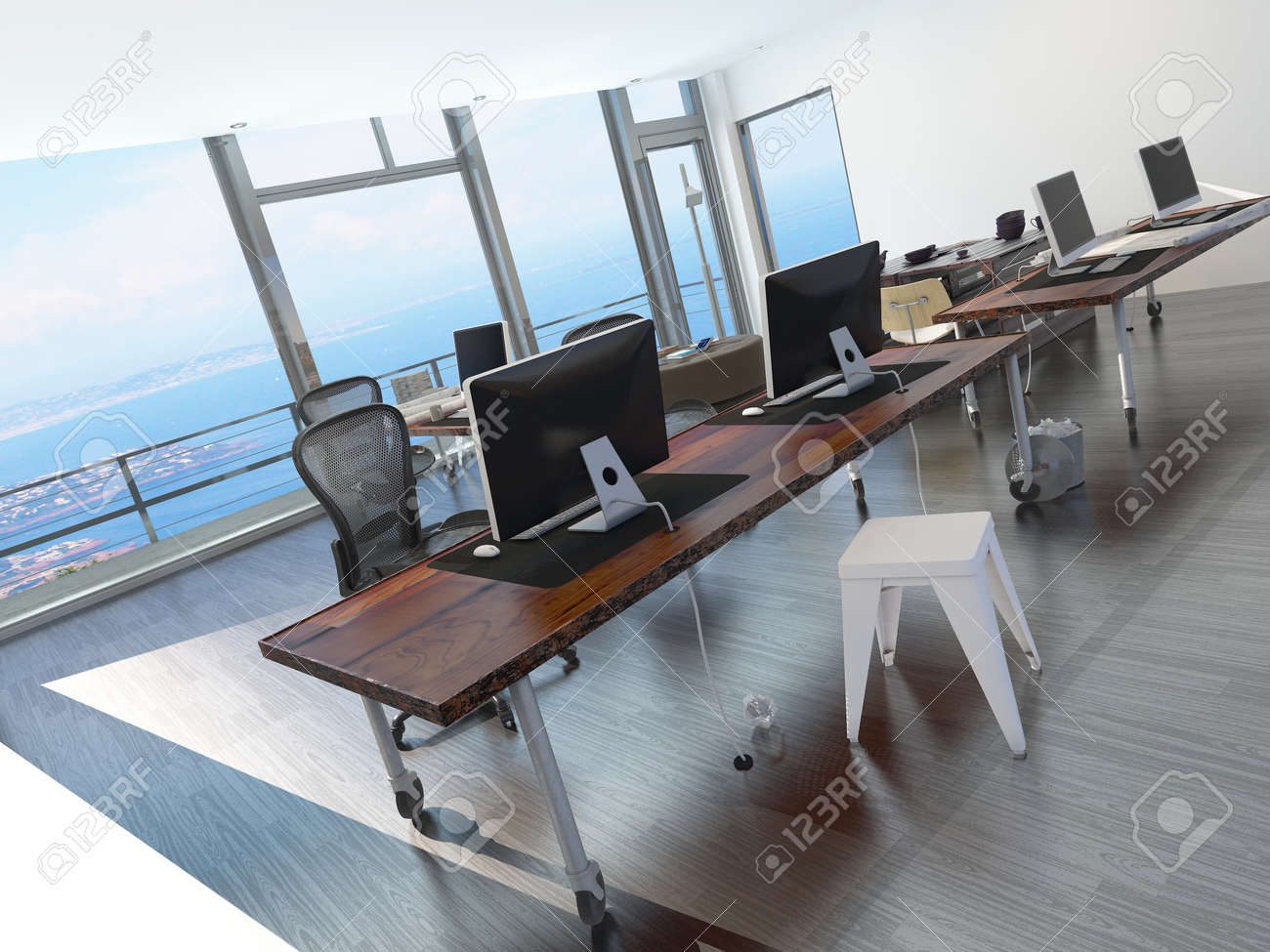 long office desks. Modern Minimalist Coastal Office Overlooking The Sea With A Long Table Several Computer Workstations Desks