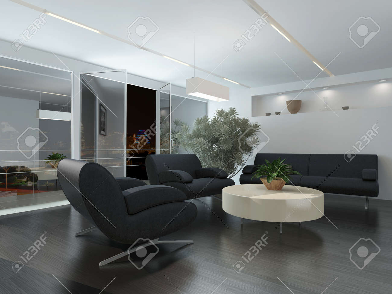 Moderne lounge of wachtkamer interieur met comfortabele fauteuils ...