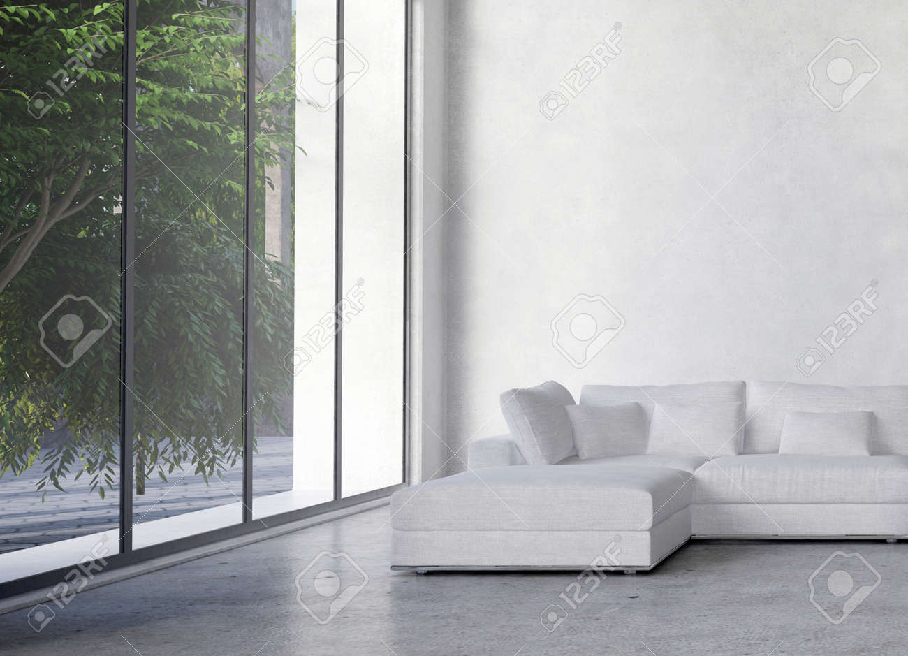 Large Living Room Window Minimalist Large Modern Minimalist Living Room Interior With A Double Volume .