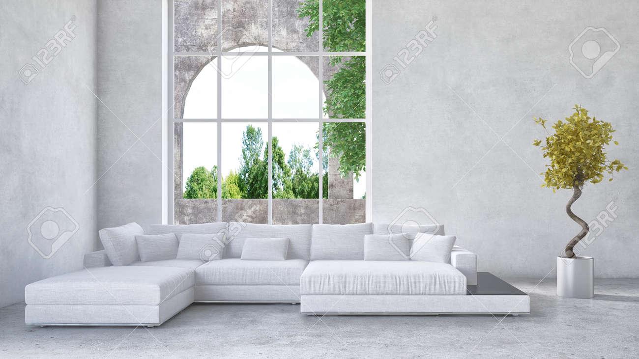 Luxus-Eigentumswohnung Wohnzimmer Innenraum Mit Gepolstertem Weißen ...