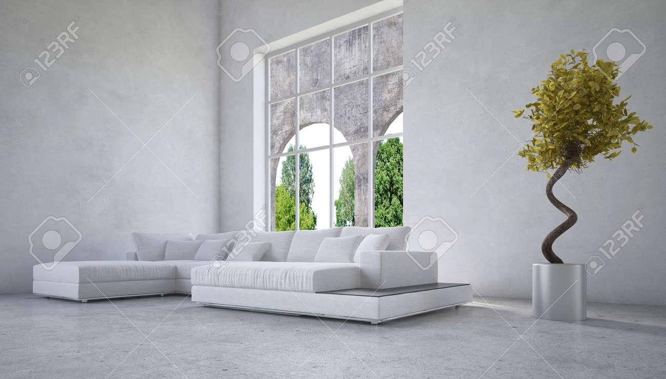 Stijlvolle Moderne Woonkamer Interieur Met Een Gebogen Raam Met ...