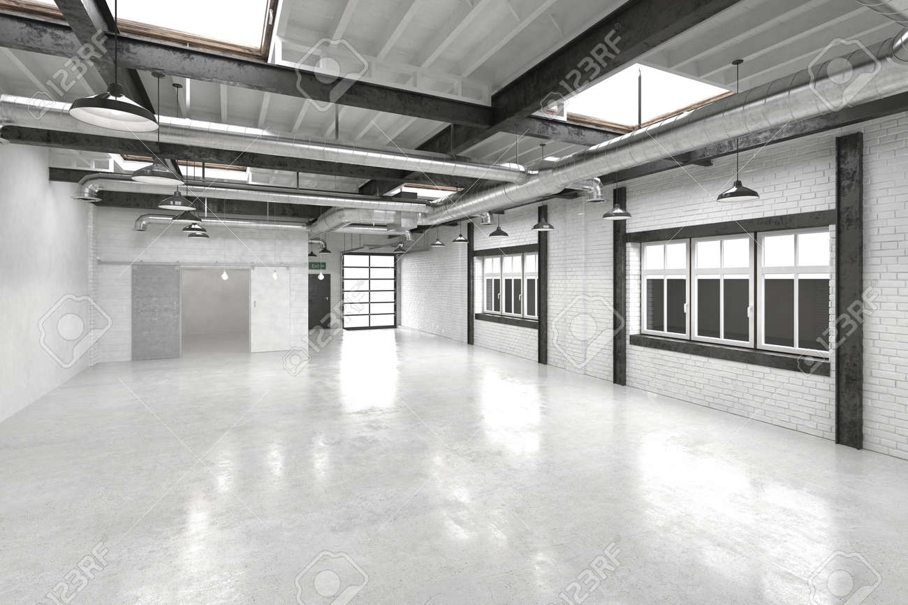 Modern Office Atrium Or Hall With A Shiny White Floor Reflecting