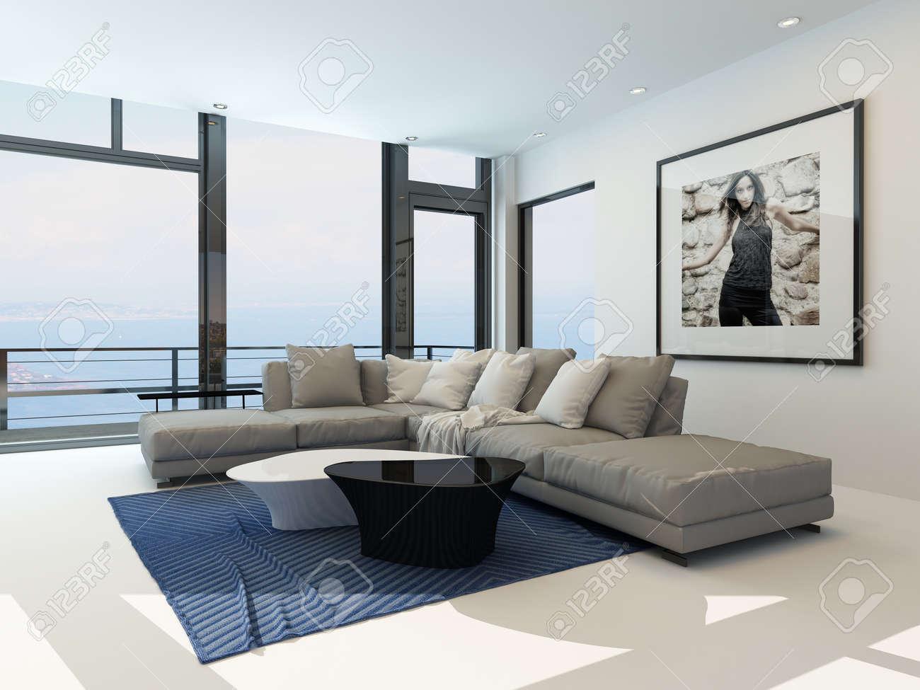 Interieur wohnen  Modernes Wohnen Am Wasser Zimmer Mit Einem Hellen Luftigen Lounge ...