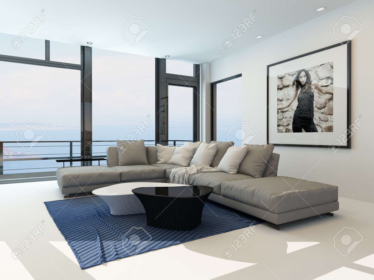 Modern Waterfront Living Room With A Bright Airy Lounge Interior ...