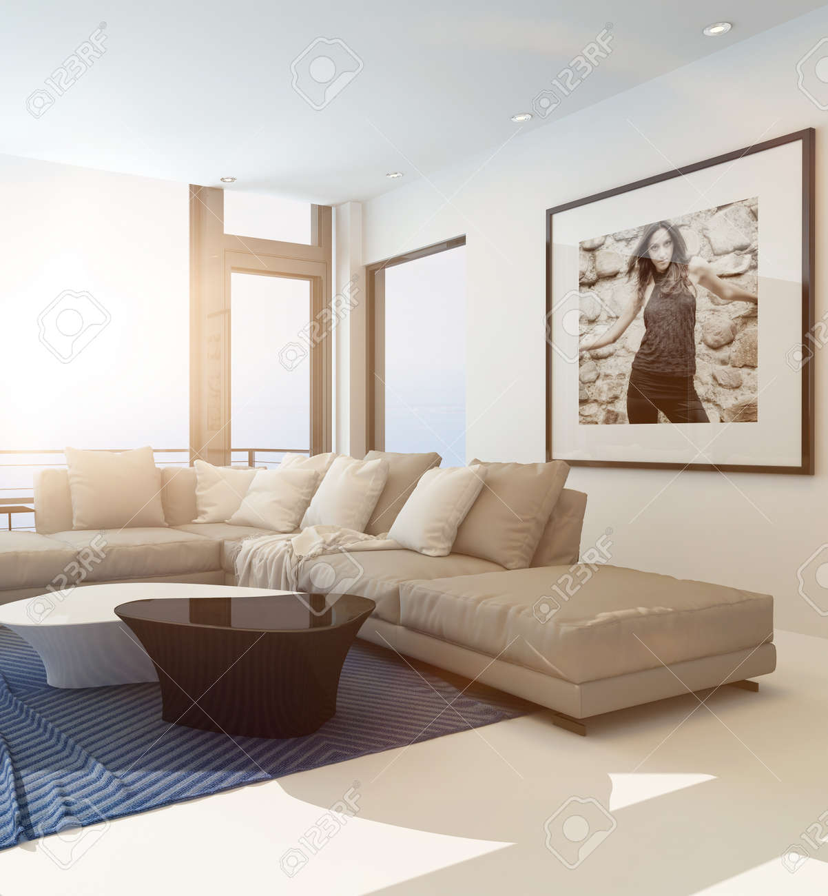 Modern Comfortable Living Room Interior With An Upholstered Beige ...