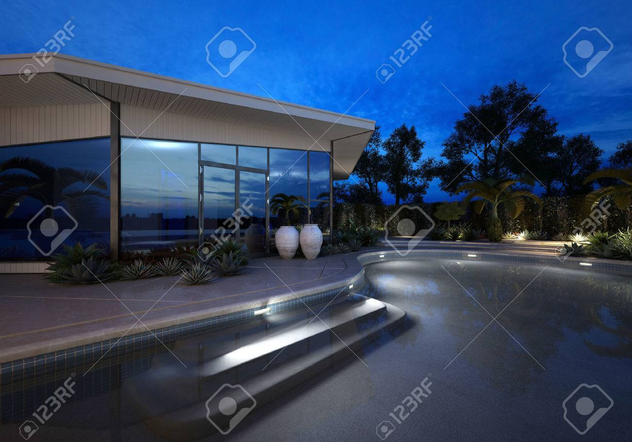 plate glass windows residential luxury modern villa or house with large plate glass windows at night an illuminated curving modern villa or house with large plate glass windows at