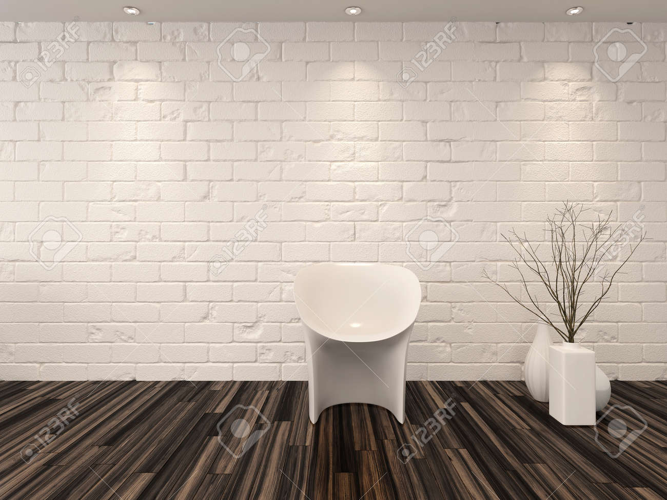 Single Modern White Chair Against A Whitewashed Brick Wall With Vase Ornaments And Recessed Overhead Down