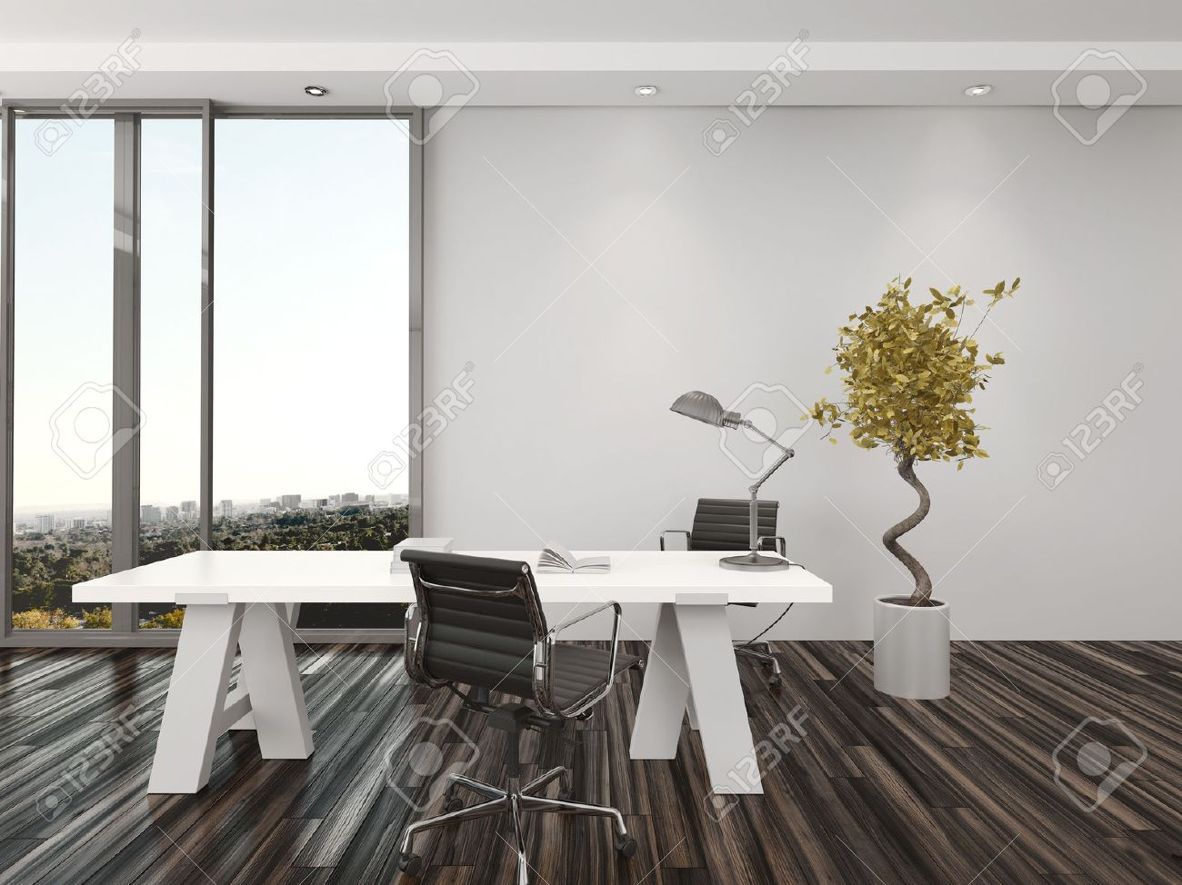 modern home office interior design with two office chairs on either ...
