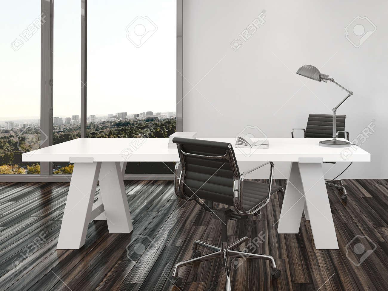 Disegno home office interior moderno con due sedie da ufficio su ...