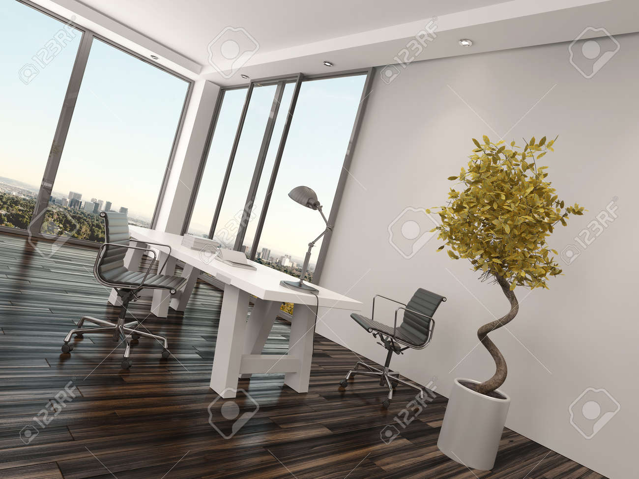 Modern Home Office Interior Design With wo Office hairs On ... - ^