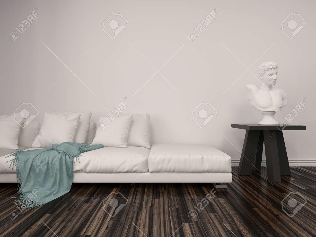 Interieur In Een Klassieke Woonkamer Met Een Wit Marmeren Buste Op ...
