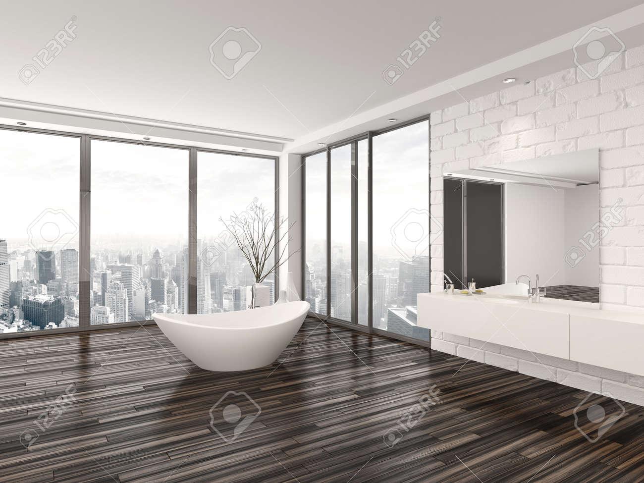 Modern White Minimalist Bathroom Interior With A Freestanding ...