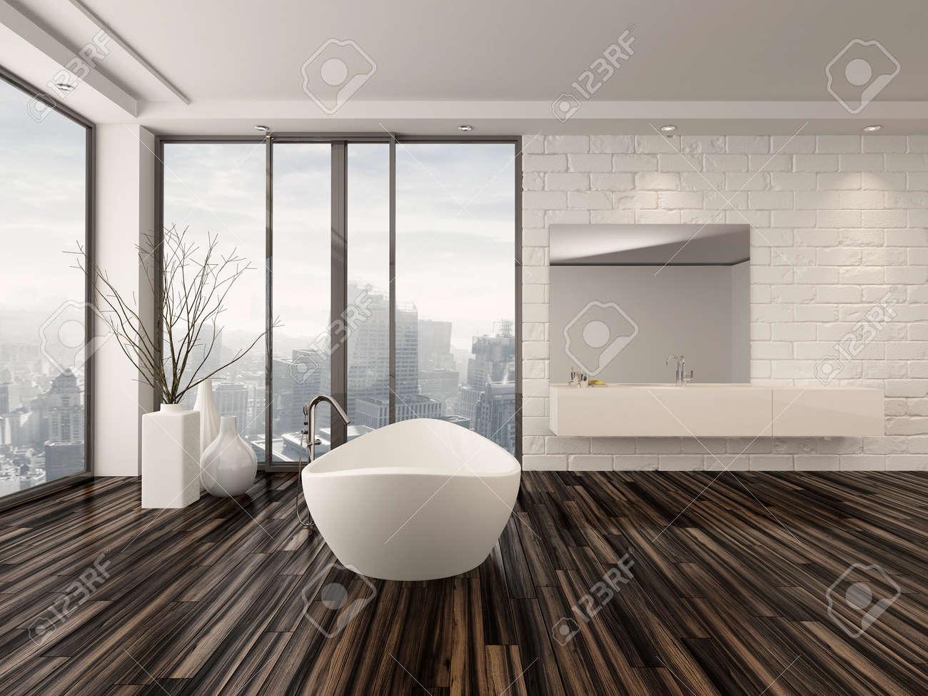 Moderne Weiße Minimalistischen Badezimmer Interieur Mit Einer Freistehenden  Badewanne Und Wandeinbaunische Mit Wrap Around