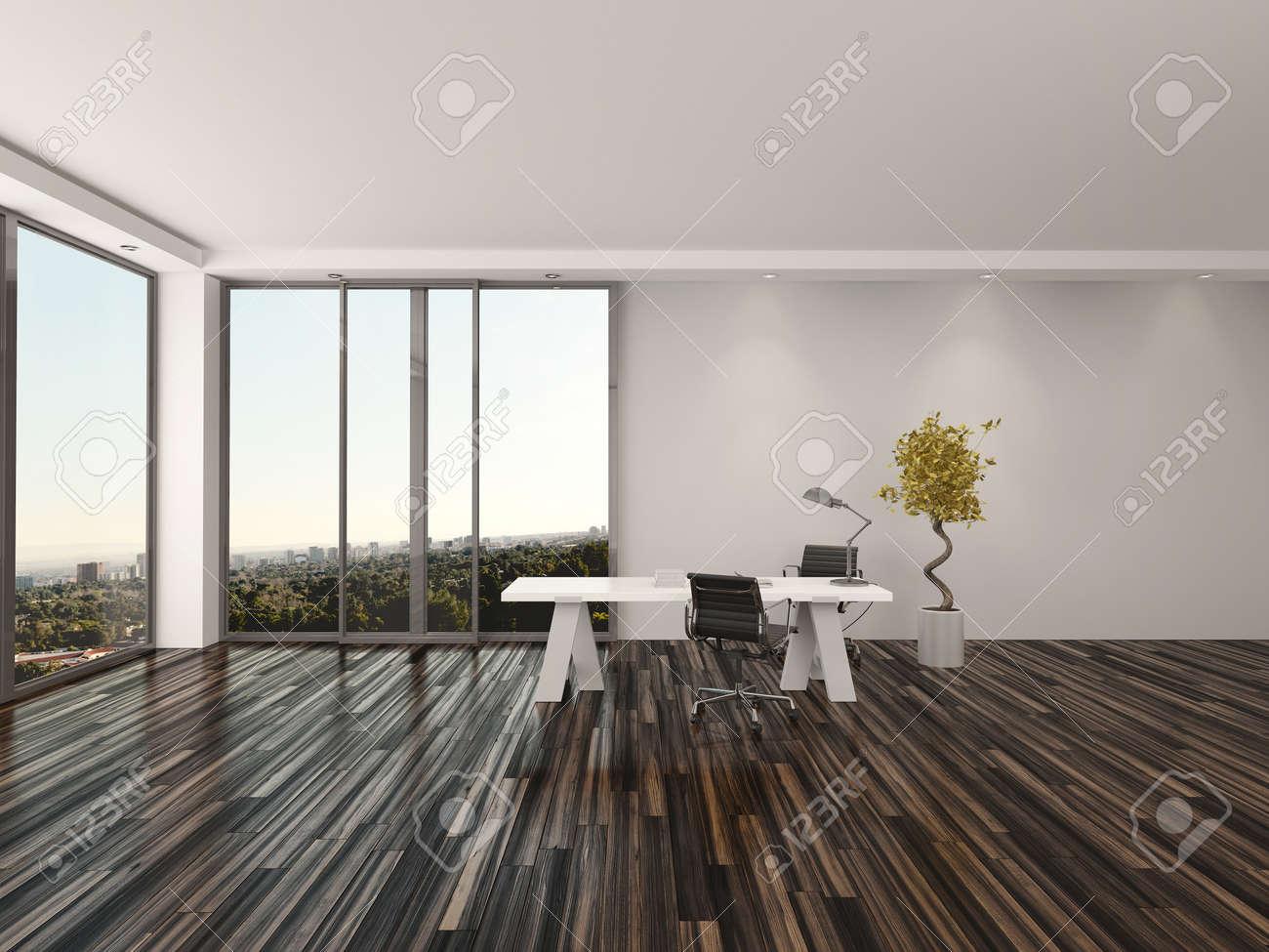 Moderne Büro Zu Hause Interior Design Mit Zwei Bürostühle Auf Beiden ...