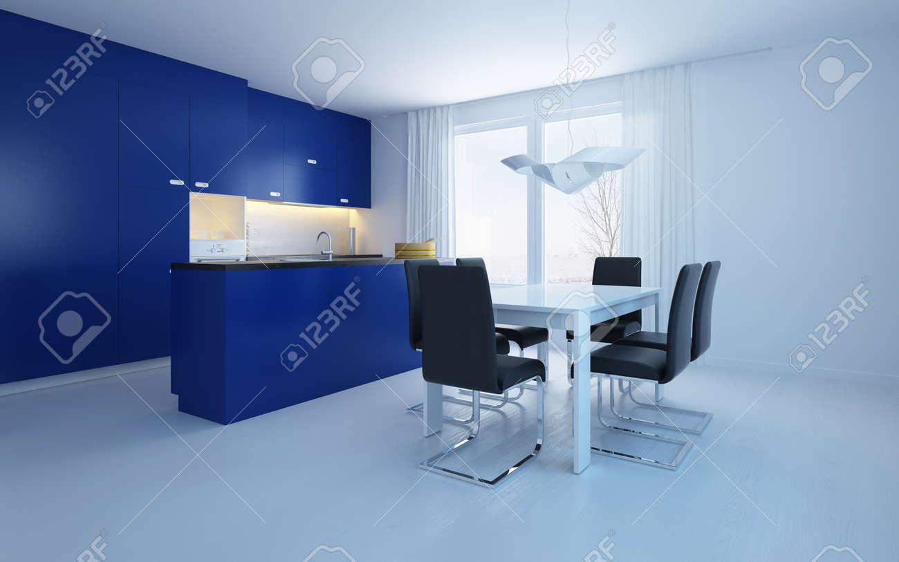 Moderne salle à manger ouverte cuisine avec des armoires bleues et un  comptoir de bar avec une petite suite à manger contemporaine dans une  chambre ...